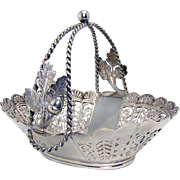 Pairpoint Silver Plated Basket with Acorns and Leaves - 1900