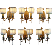 Double-Arm Bronze/Brass Wall Sconces - Set of Six - 1915