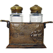 Arts & Crafts Salt & Pepper Shakers with Nautical Bronze/Brass Holder - 1910