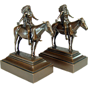 Bronzed Indian Chief on Horse Bookends - 1920's