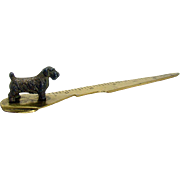 Solid Brass Letter Opener and Ruler with Figural Terrier - 1920's