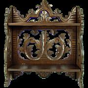 Carved Black Forest Walnut Folding Shelving Unit - 1890's