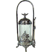 Victorian Silver Plated Pickle Castor with Winged Angels and Deer