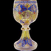 Enameled Bohemian Glass Chalice - 1890's
