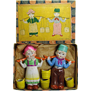 Bisque Boy and Girl Figures with Water Pails - Mint in Box - Pre-War