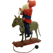 Early Composition Santa Claus and Donkey Pull-Toy - 1890's