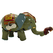 Walking Elephant and Monkey Wind-up Toy - 1920's