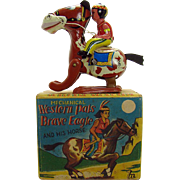 Tin Brave Eagle Indian on Horse Tin Wind-up Toy Mint in Box - 1940's