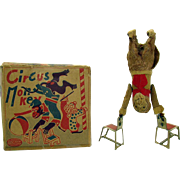 Tin and Mohair Circus Monkey Wind-up Toy in Box - 1940's