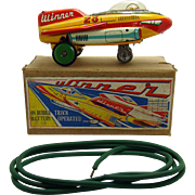 Winner #23 Space Ship Battery-Operated Toy with Rubber Track - Mint in Box