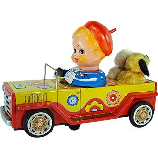 Tin Boy Riding Car with Barking Dogs Battery Operated Toy