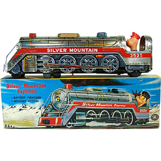 Silver Mountain Express Battery Operated Train Toy - Mint in Box - 1960's