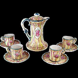 Hand-Painted Enameled Nippon Porcelain Chocolate Set - 1920's