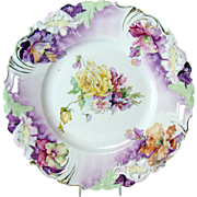 Hand-Painted Porcelain Plate with Open Handles - Germany Saxe