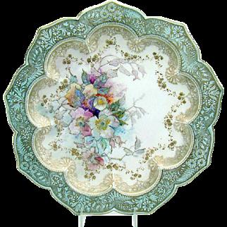 Hand-Painted Doulton Burslem Porcelain Plate with Scalloped Border