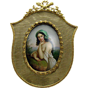 Hand Painted Porcelain Portrait of Girl in Gilt Bronze Frame - 1880's