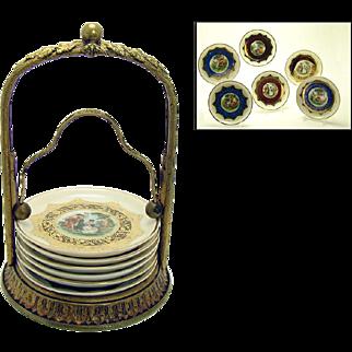 Gilt Bronze Painted Porcelain Coaster Set - 1910