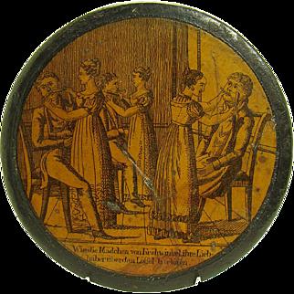 German Papier-mâché Snuff Box With Shaving Scene - 1880's