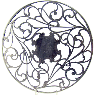 Art Nouveau Cut Glass Trivet with Sterling Overlay - 1890's