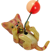 Celluloid Cat and Ball Wind-up Toy - Occupied Japan