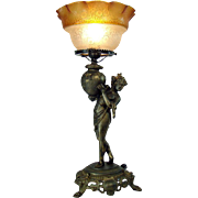 Portable Figural Gas Table Lamp with Etched Amber Shade - 1880's