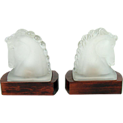 Art Deco Satin Glass Horse Head Lamp Bookends - 1920's