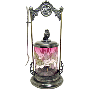 Silver Plated Pickle Castor with Bird Finial and Rubina Inverted Thumb print Coraline Glass Insert