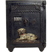 Cast Iron Semi-Mechanical Combination Safe Bank with Guard Dog - 1890's