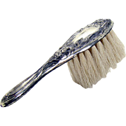Small Sterling Hand Brush with Repousse Floral Design - 1890's
