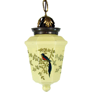 Custard Glass Pendant Light with 4 panels of Hand-Painted Birds - 1920's