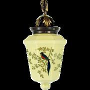 Custard Glass Pendant Light with 4 panels of Hand-Painted Birds - 1920's
