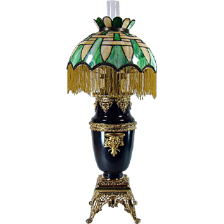 Huge Victorian Banquet Lamp with Basket-weave Leaded Glass Shade - 1880's
