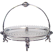 English Silver Plated Bride's Basket with Winged Angels