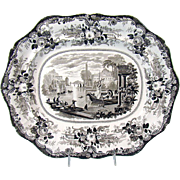 Brown Transferware Porcelain Platter - 1880's