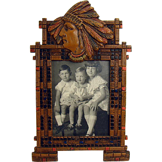 Cold Painted Iron Picture Frame with Native American in Headdress - B&H 1920's