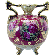 Hand-Painted Nippon Porcelain Vase with Two Handles and Rose Pattern - 1920's