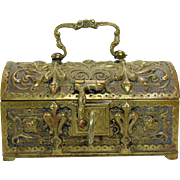 Cast Bronze Jewel Chest with Key - 1870