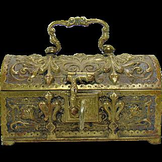 Cast Bronze Jewel Chest with Key - 1870