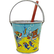 Stovers Tin Candy Pail with Shovel and Lithographed Ocean Scene