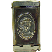 Victorian Match Safe and Cigar Cutter with Deer and Lady - 1880's
