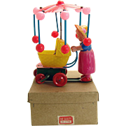 Celluloid Mother and Baby Carriage Tin Wind-up Toy - Mint in box