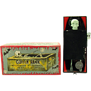 Tin Coffin and Skeleton Bank Wind-up Toy - Mint in Box