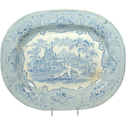 Large Blue Transferware Platter in Syria Pattern - Verreville - 1880's