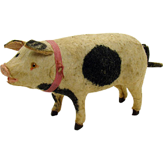 Early Composition and Felt Musical Pig Toy - Rare
