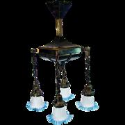 Fancy Brass Chandelier with Blue Art Glass Shades - 1920's