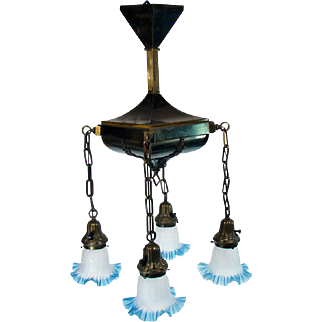Fancy Brass Chandelier with Blue Art Glass Shades - 1920's