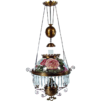 Hand-Painted Victorian Pull-down Library Lamp - 1880's