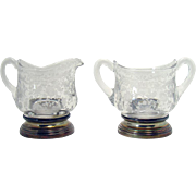 Cambridge Rosepoint Creamer and Sugar with Sterling Bottoms