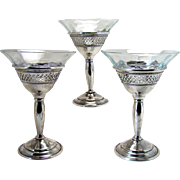 Cut Glass Cordial Glasses with Sterling Basses - Set of Three - 1910