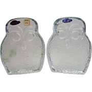 Solid Glass Blenko Owl Bookends - 1950's